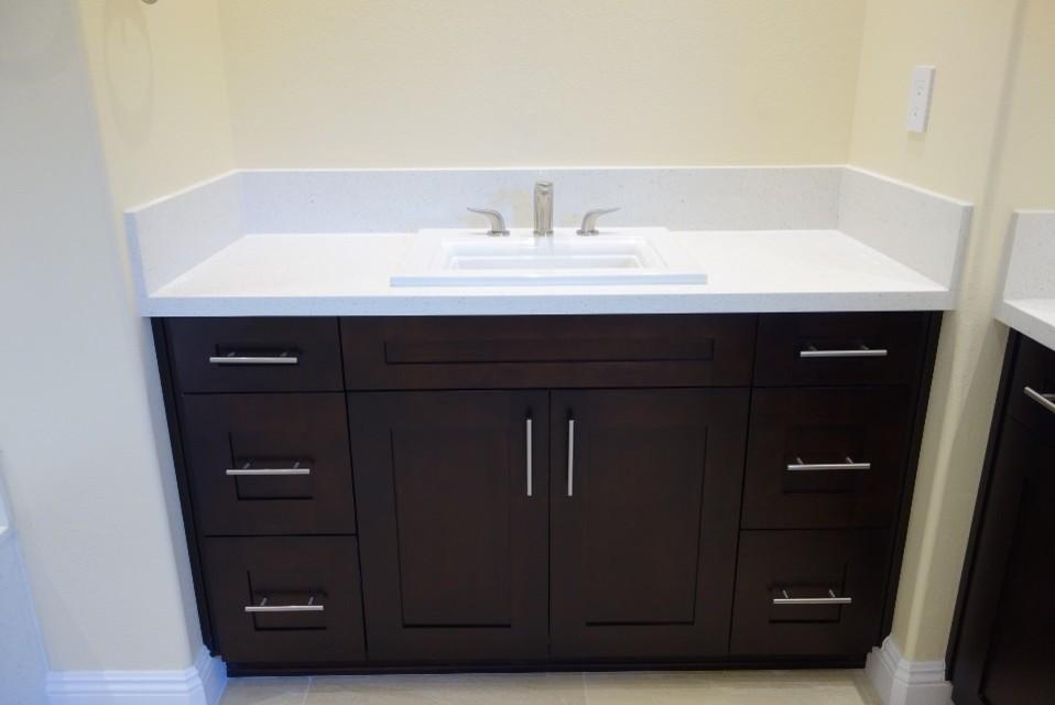 Espresso Shaker Vanity With Quartz Countertop Traditional Bathroom Los Angeles By Homeco Kitchen Bath