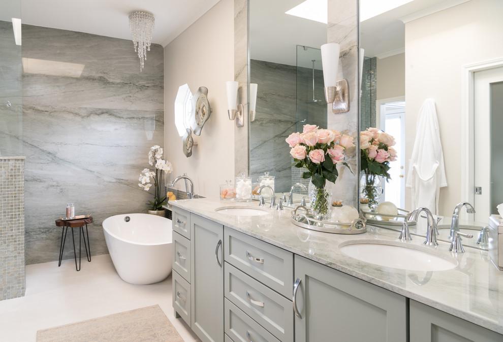 Ethereal Master Bathroom Remodel Transitional Bathroom Dallas By Dona Rosene Interiors Houzz