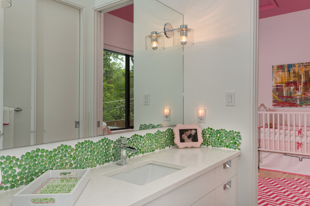 Trendy green tile and mosaic tile bathroom photo in Austin