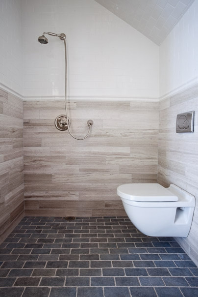 Bath Open Shower And Wall Mount Toilet