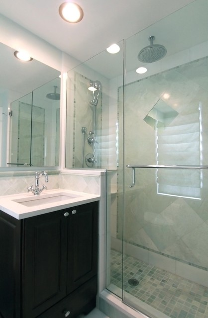 Evanston small master traditional bathroom chicago by angela murphy - Small bathroom remodeling designs ...