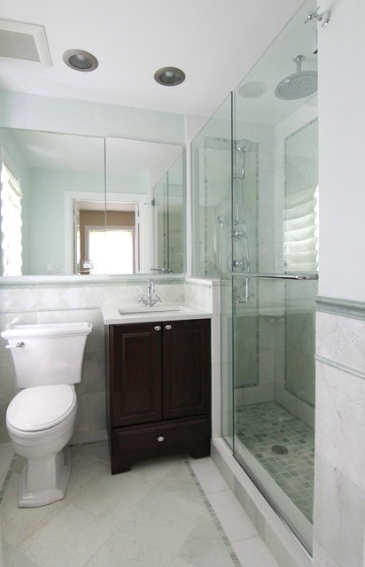 Evanston small master traditional bathroom chicago for Very small bathroom designs with shower