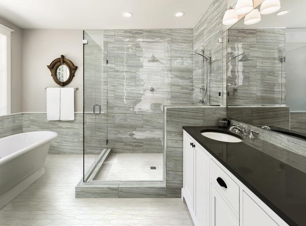 Evolution Avio 12x24 Wall Tile With White Hexagon Mosaic Shower Floor Transitional Bathroom Nashville By Milestone Design Center