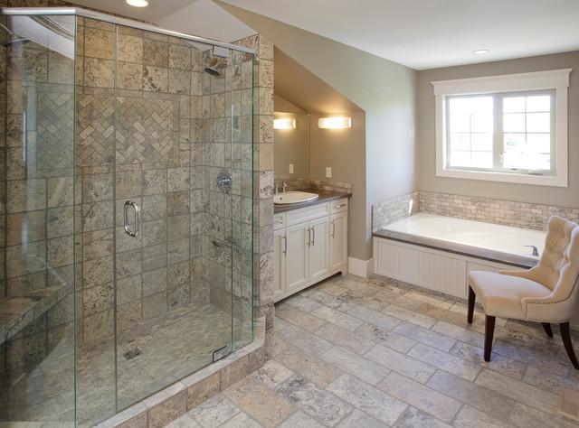 Executive Calgary Semi-detached traditional-bathroom