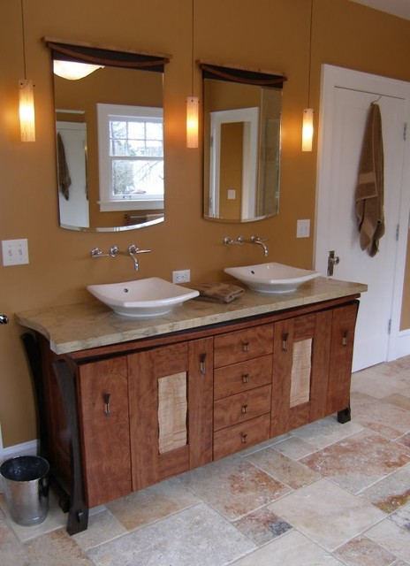 Exotic Wood Double Sink Cabinet