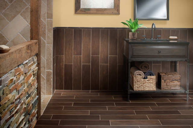 Exotica Walnut Wood Porcelain Tile Contemporary Bathroom Atlanta By Floor Decor