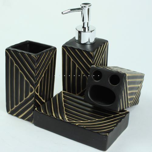 Exquisite stripes sculpture black bath accessory set for Striped bathroom accessories sets