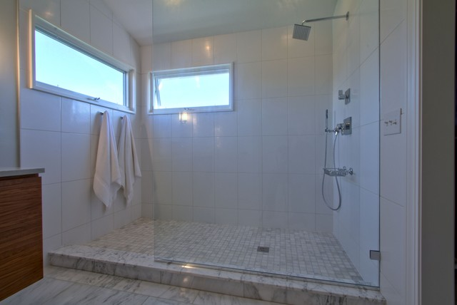 Extra long master shower with partition glass no door for Master bathroom no door