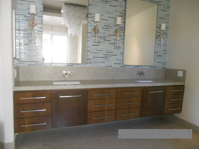 Extra long white oak floating double sink vanity for Long bathroom cabinets