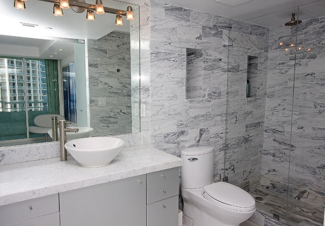 Example of a trendy bathroom design in San Francisco with a vessel sink and gray countertops