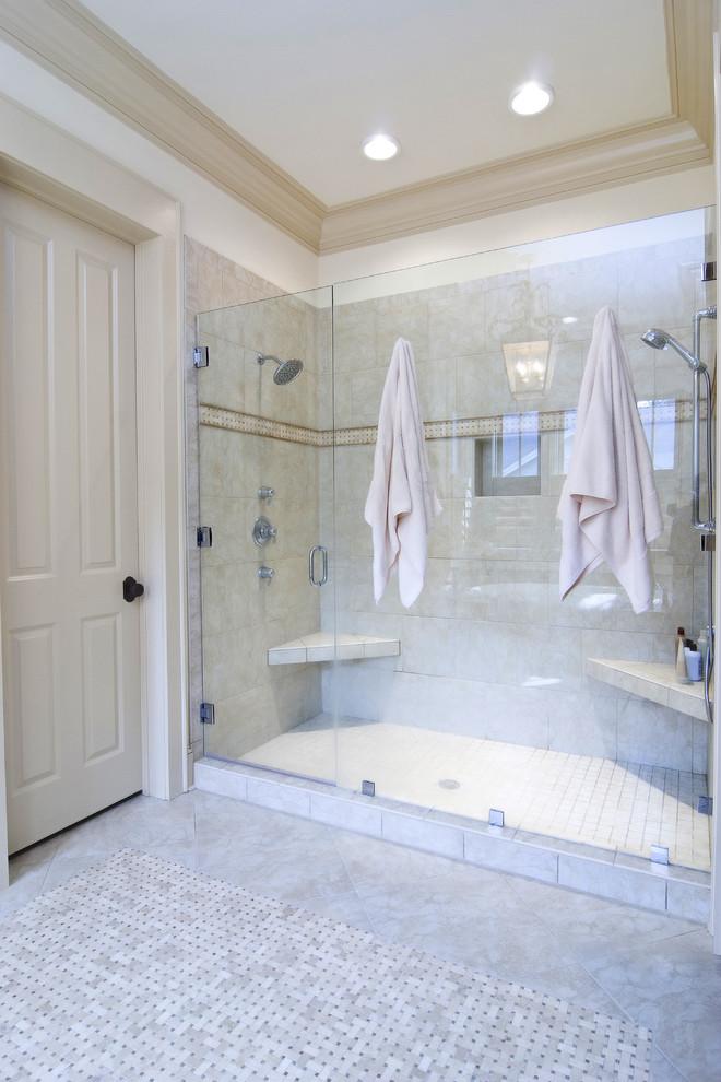 Elegant beige tile alcove shower photo in San Francisco