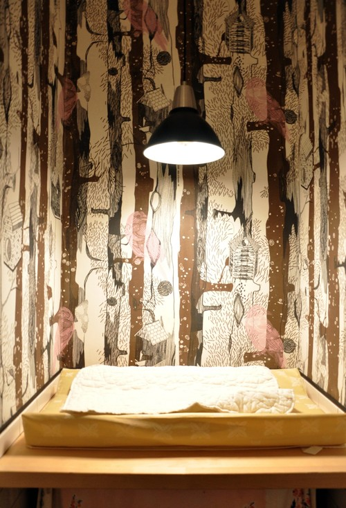 fabric wallpaper bathroom