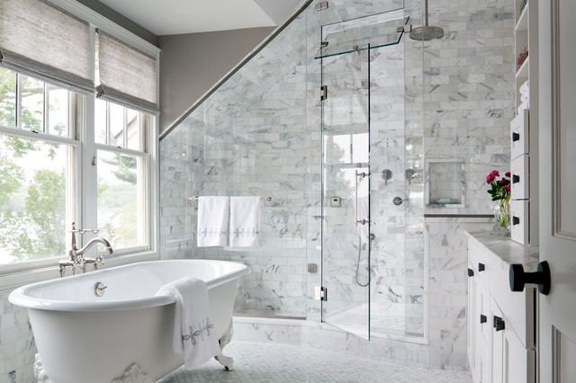 Large Transitional Master White Tile And Subway Tile Marble Floor Bathroom  Photo In New York With