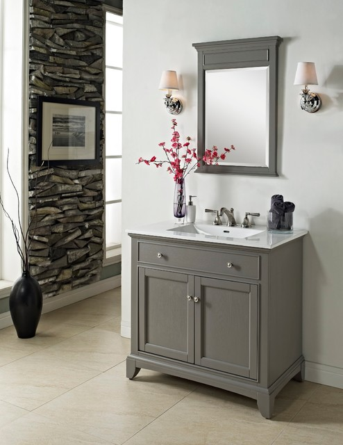Fairmont smithfield 36 vanity medium gray modern for Bathroom ideas grey vanity