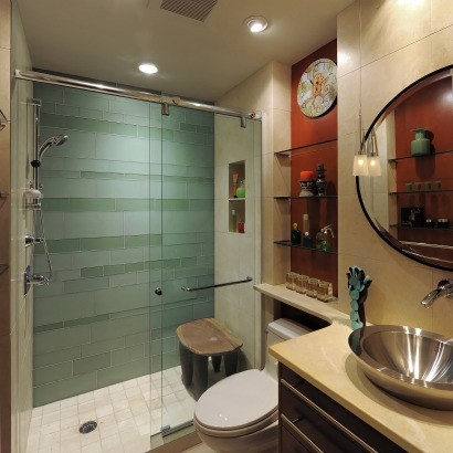Who makes this sliding glass shower door for Church bathroom ideas