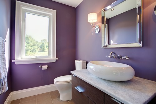 Drew Henry Of Design Dudes Saves Purple For A Half Bath