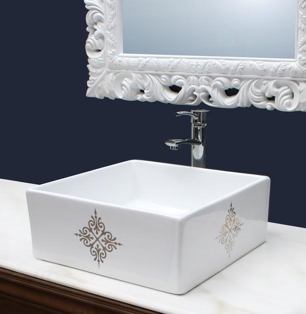 fancy emblem hand painted sink in a navy blue bathroom, Bathroom decor