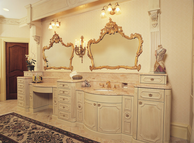 Fancy glazed painted victorian bathroom vanity for French country bathroom lighting