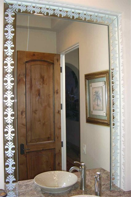 Fancy Palm Border Decorative Mirror With Etched Carved Design Bathroom Other Metro By