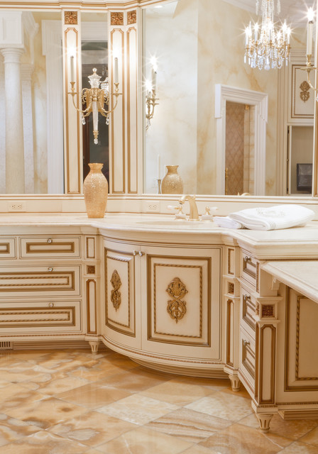 Fancy White Gilded Bathroom Vanity Traditional