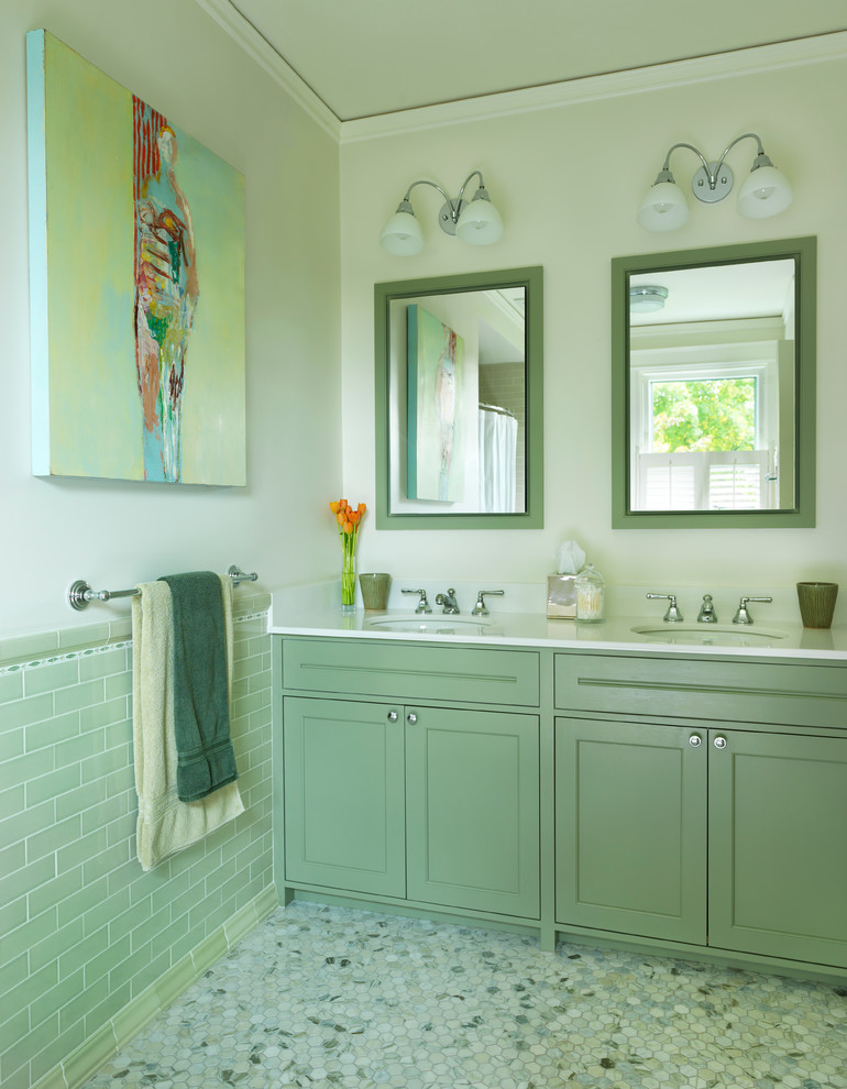 Inspiration for a timeless green tile bathroom remodel in Boston with an undermount sink, shaker cabinets, green cabinets and beige walls