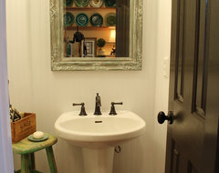 Farm Style Powder Room eclectic bathroom