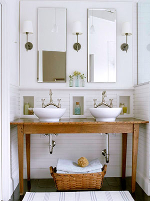 farm table vanity, double vanity, reclaimed wood,  Country-Style Open Vanity traditional bathroom