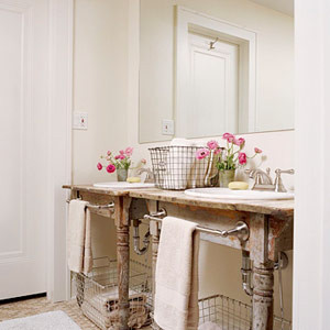 farm table vanity, vanity, powder room, salvaged wood, reclaimed wood, traditional bathroom