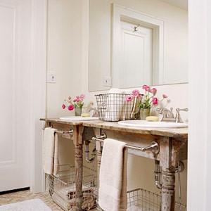 farm table vanity vanity powder room salvaged wood