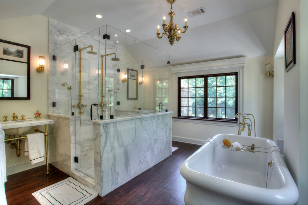 Farmhouse marble tile bathroom photo in New York with a console sink