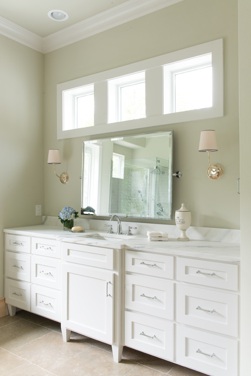 What is the bathroom ceiling height window height and for Height of bathroom mirror