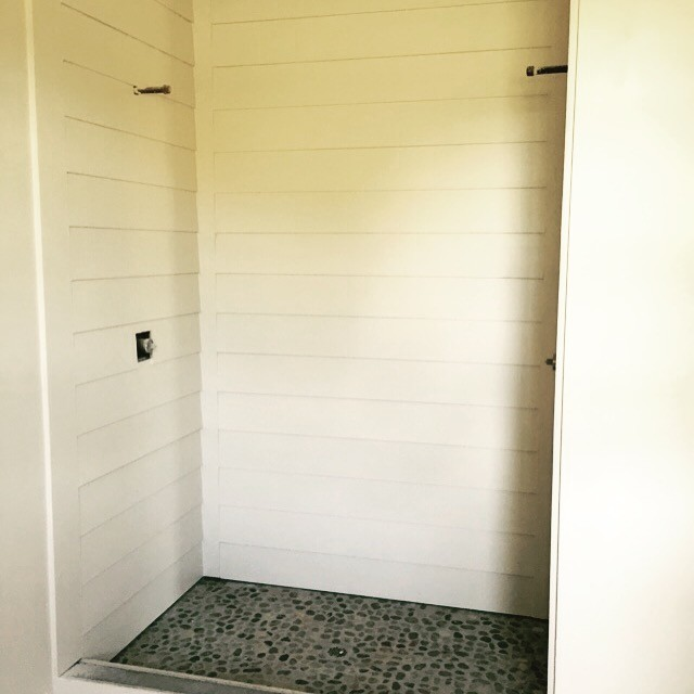 Farmhouse Build Shiplap Shower Bathroom
