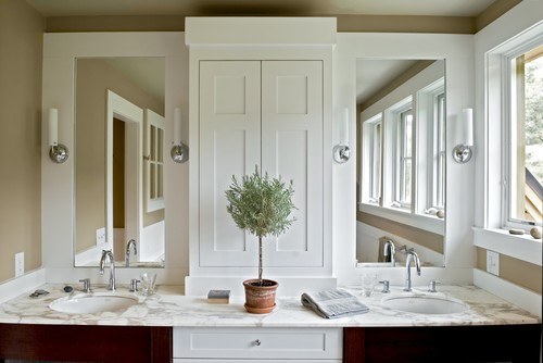 Farmhouse Reinterpreted  More Info Master bath double vanity Storage tower or One large mirror