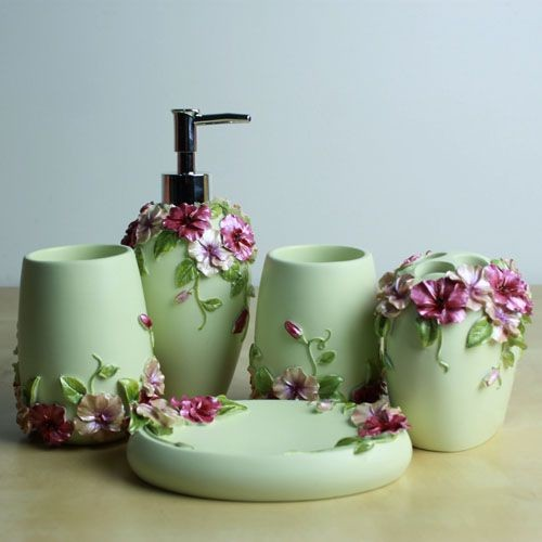pcs resin bathroom accessory set flower style modern bathroom