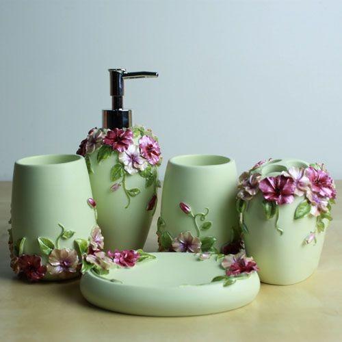 fashion and gorgeous 5 pcs resin bathroom accessory set flower style modern bathroom