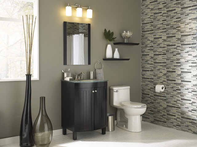 Fashonably functional small bath modern bathroom for Wallpaper lowe s home improvement