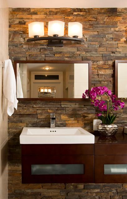 Faux Stone Wall Modern Bathroom Dc Metro By