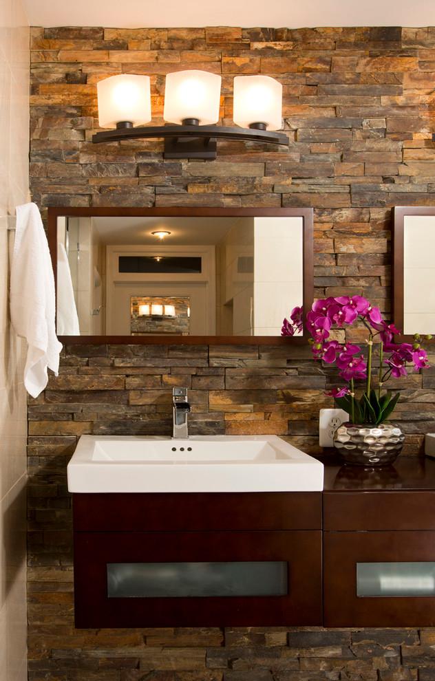 Faux Stone Wall Modern Bathroom
