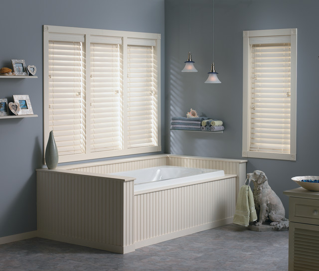 Faux wood blinds traditional bathroom other metro for What type of blinds for bathroom