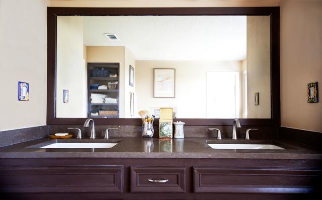 Faux Wood Tile Equals Calm Bathroom Remodel traditional-bathroom