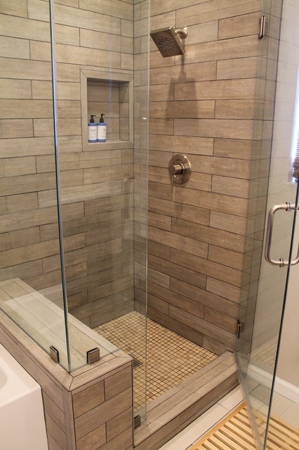 Faux wood tile in modern shower contemporary bathroom for Contemporary bathroom tiles