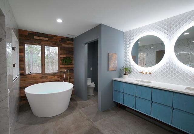Bathroom Of The Week Wood Walls Warm Up An Eclectic Master Bath