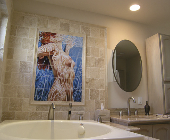 Female Nude Bathroom Tile Mural in Modern Bathroom Design
