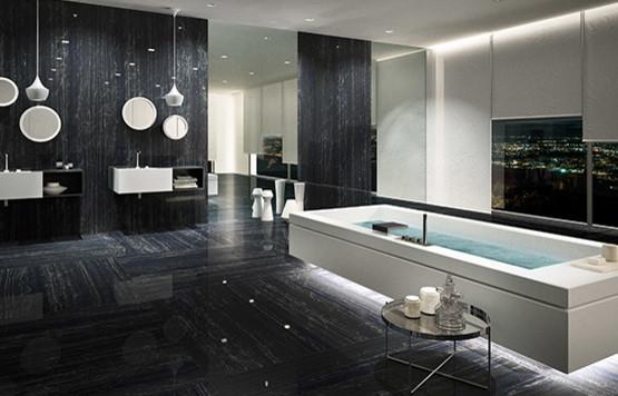Bagno a righe bianche e nere : Fiandre marmi maximum nero supremo stanza da bagno london