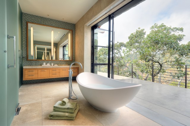 Fieldstone House contemporary-bathroom