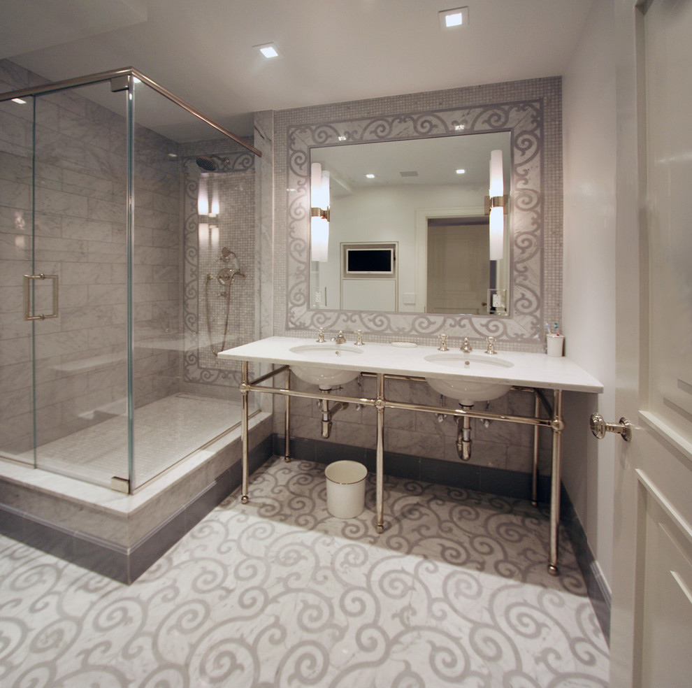 Inspiration for a contemporary gray tile and stone tile corner shower remodel in New York with a console sink, open cabinets and marble countertops