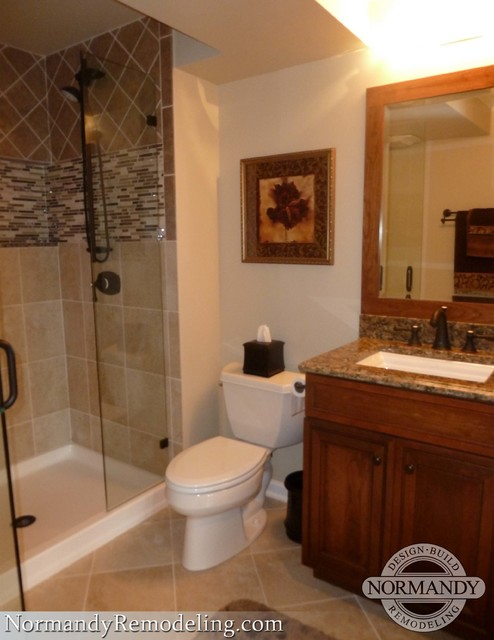 Finished basement adds valuable living space traditional for Finished bathroom ideas