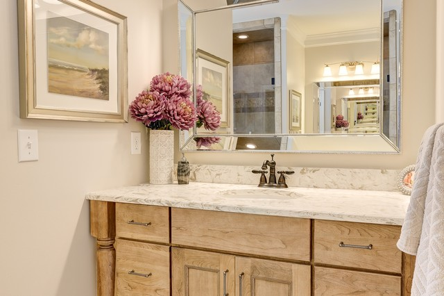 Transitional master bathroom photo in Other with light wood cabinets and engineered quartz countertops