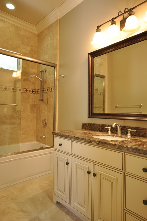 How Is The Transition Made From The Shower Tile To The Wall With - Bathroom crown molding