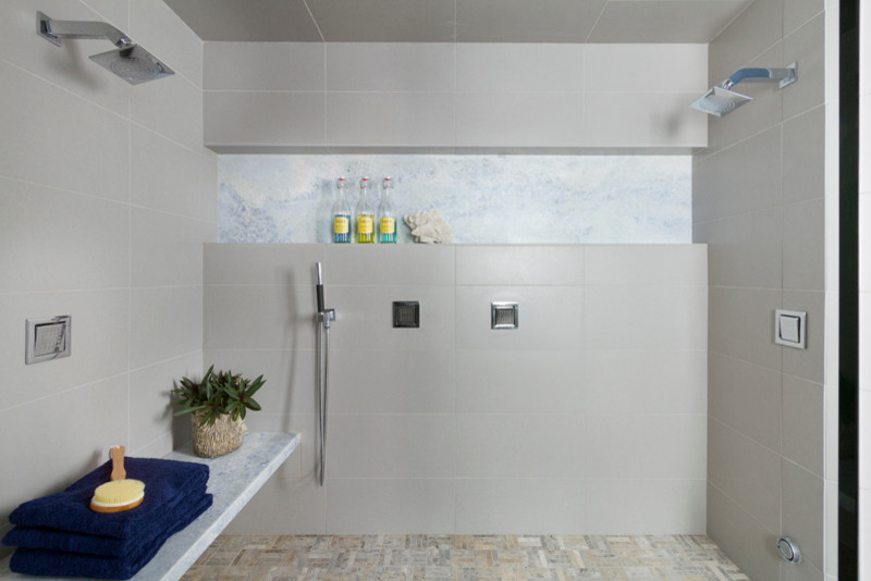 Bathroom - contemporary master gray tile and porcelain tile porcelain tile bathroom idea in Minneapolis with an undermount sink, flat-panel cabinets, medium tone wood cabinets, a one-piece toilet and gray walls